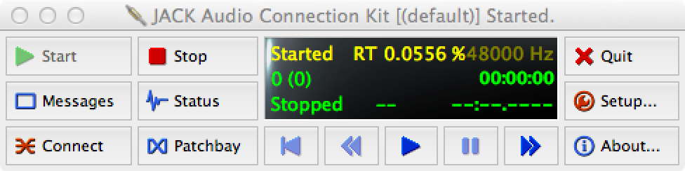 Routing and viewing SMPTE timecode internally from an audio file on a Mac (How to Use Qjackctl)